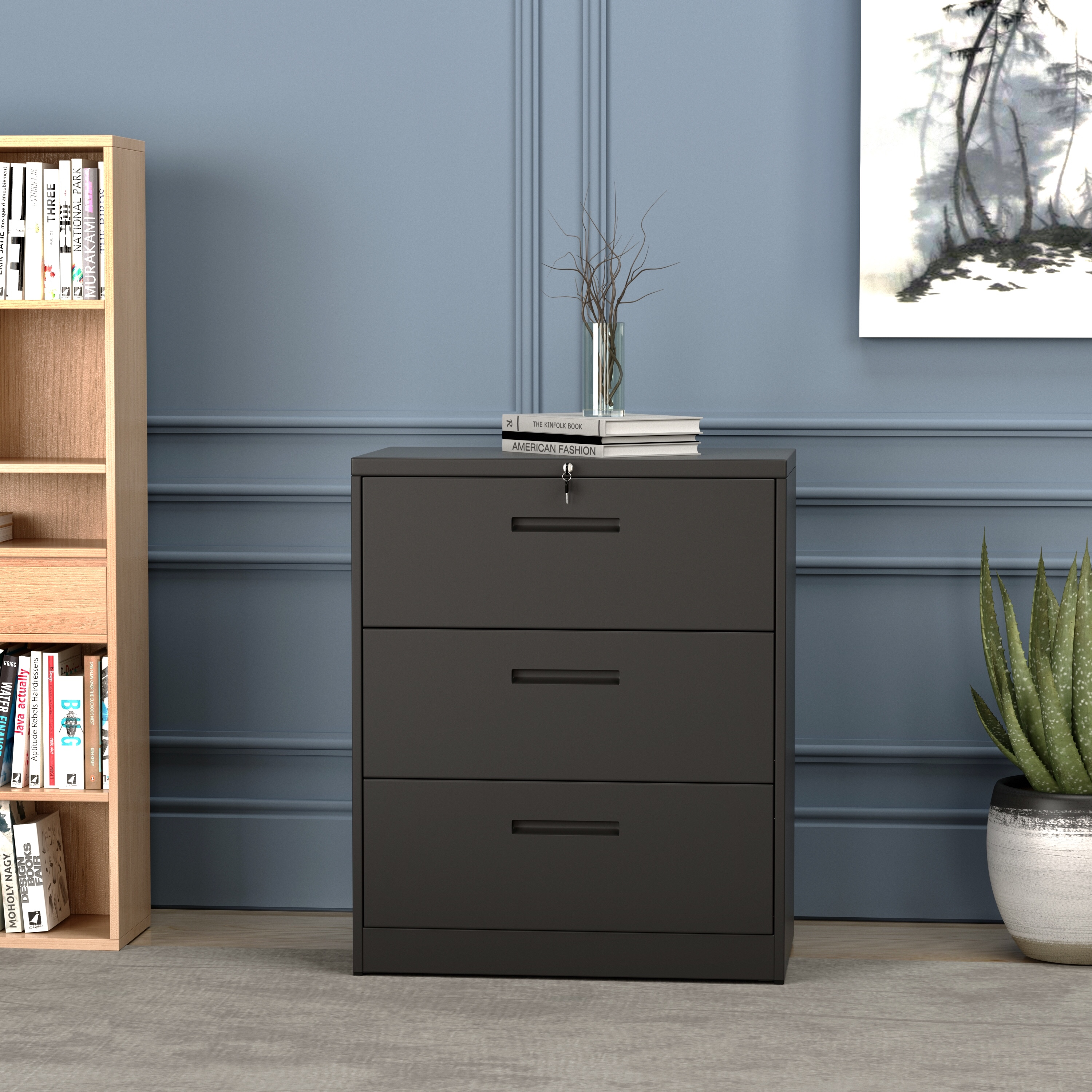 Lockable Metal 3 Drawer Lateral File Cabinet