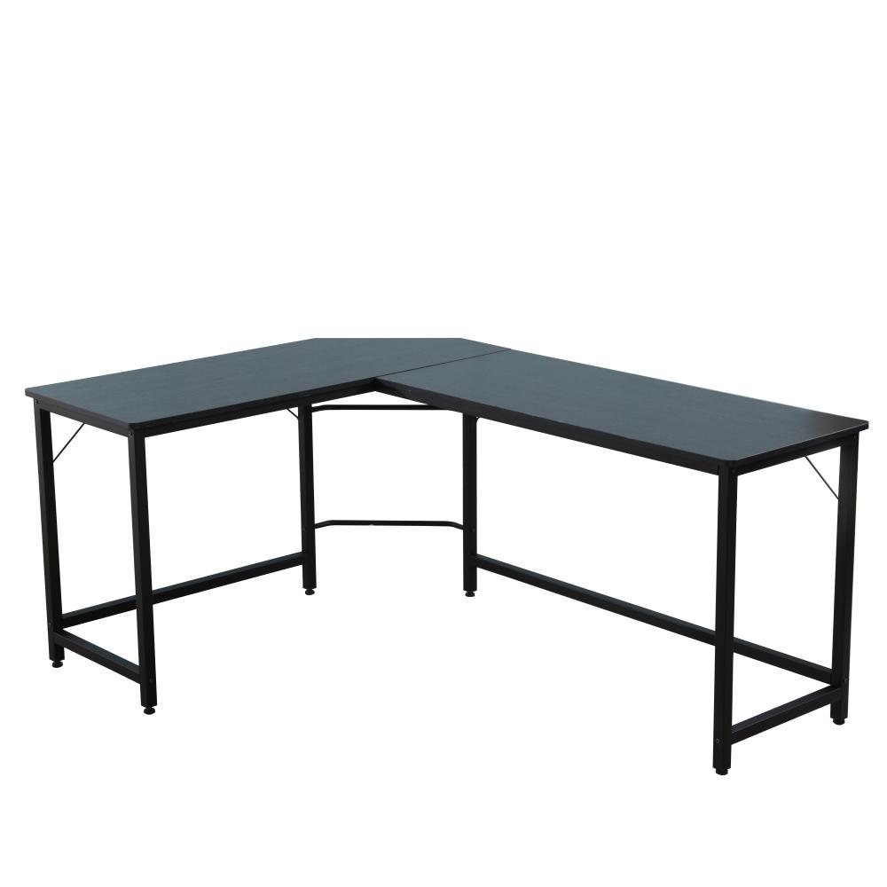家用办公L型转角桌墙角书桌拐角桌电脑桌 - 黑色