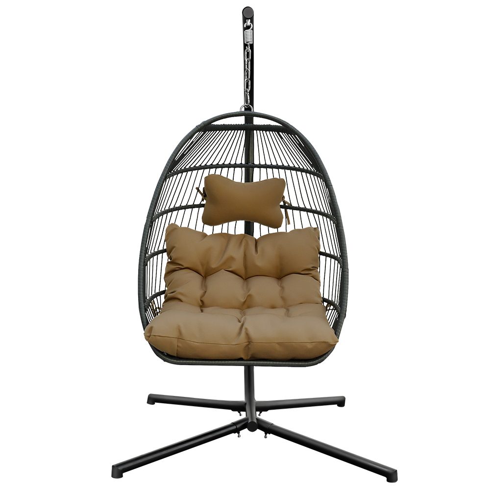 吊篮藤椅家用懒人掉吊椅休闲单人阳台吊椅藤制效果四角单吊椅 - 棕色