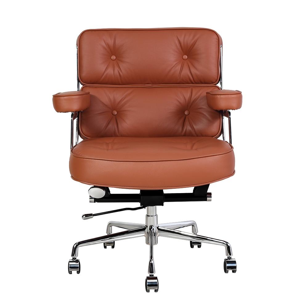 真皮柔软海绵360°旋转办公椅 - 深棕色
