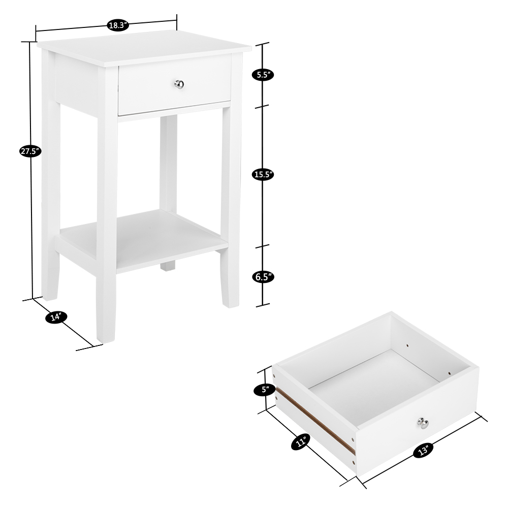 Two-layer Bedside Table Coffee Table with Drawer White