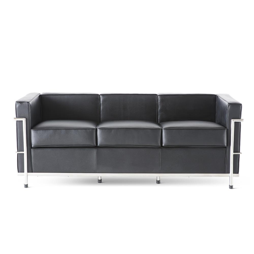 客厅休闲俱乐部接待室实木框架三人沙发 - 黑色