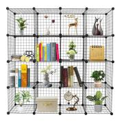 16-Cube Organizer Cube Storage Storage Shelves Wire Cube Storage Origami Shelves Metal Grid Multifunction Shelving Unit Modular Cubbies Organizer Bookcase