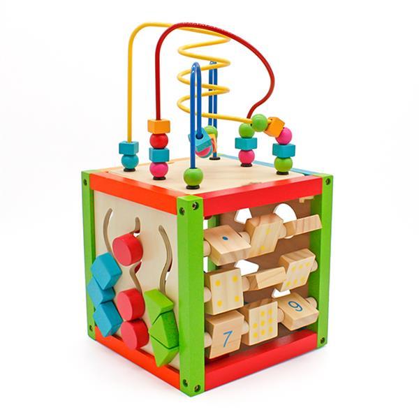 木制学习串珠迷宫立方体五合一活动中心益智玩具