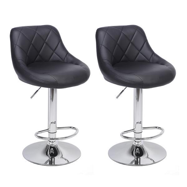 两把可旋转带搁脚板靠背设计吧椅高密度海绵吧凳 - 黑色