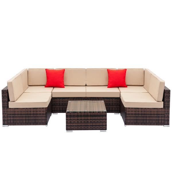 编织藤沙发组合包括2个转角沙发和4个单人沙发和1个咖啡桌