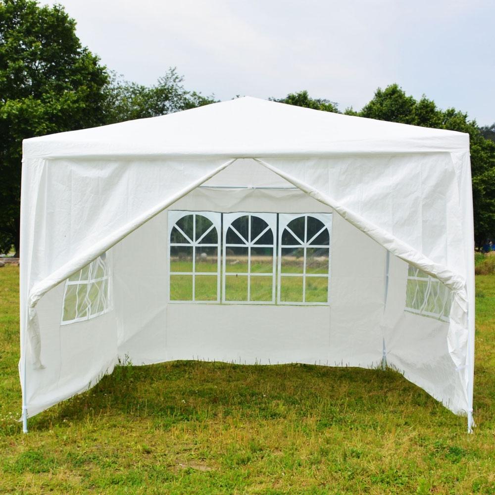 3x3m 带螺旋管的四面便携式家用防水帐篷 - 白色