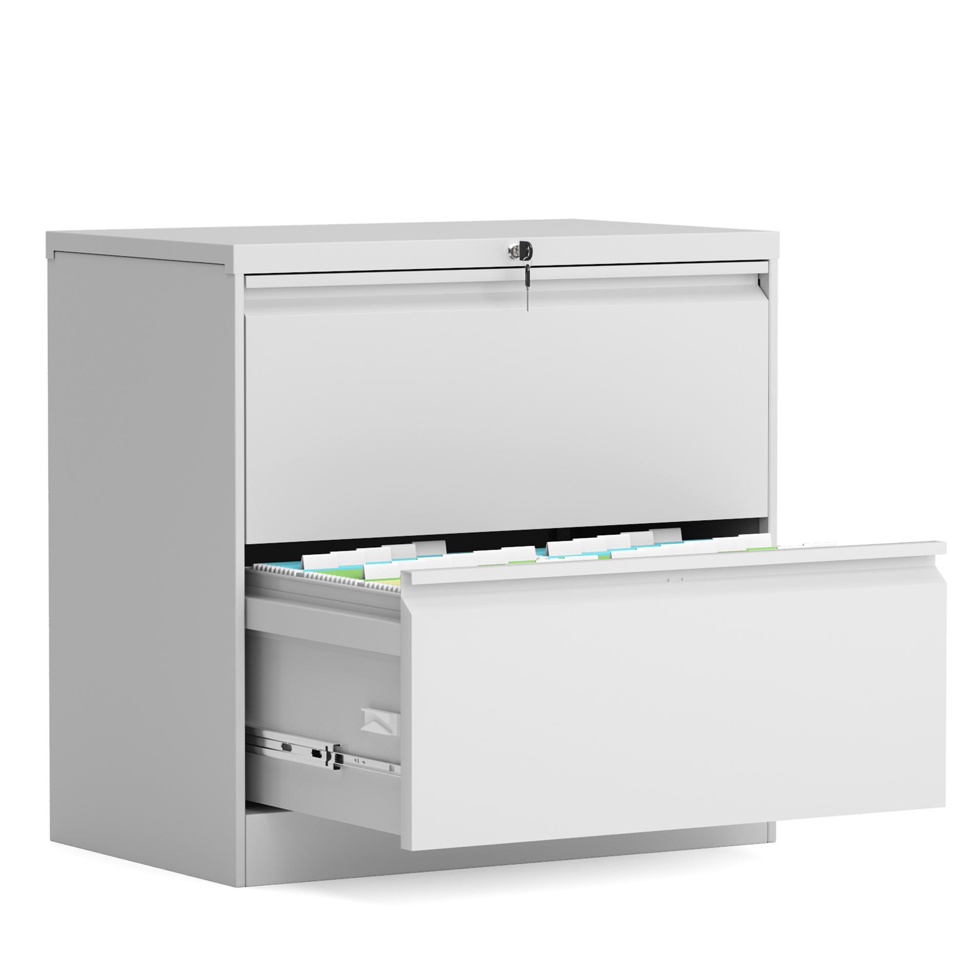 储物柜2层抽钢制文件柜 - 白色