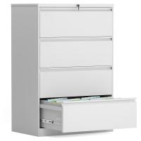 钢制4抽屉折叠储物文件柜 - 白色