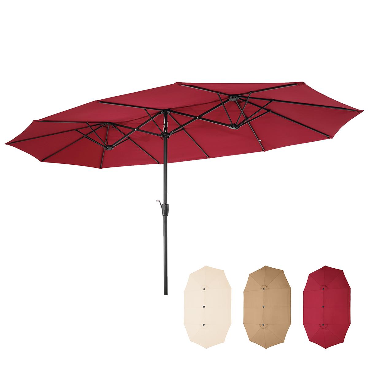 带曲柄的铝制大型双面矩形户外伞