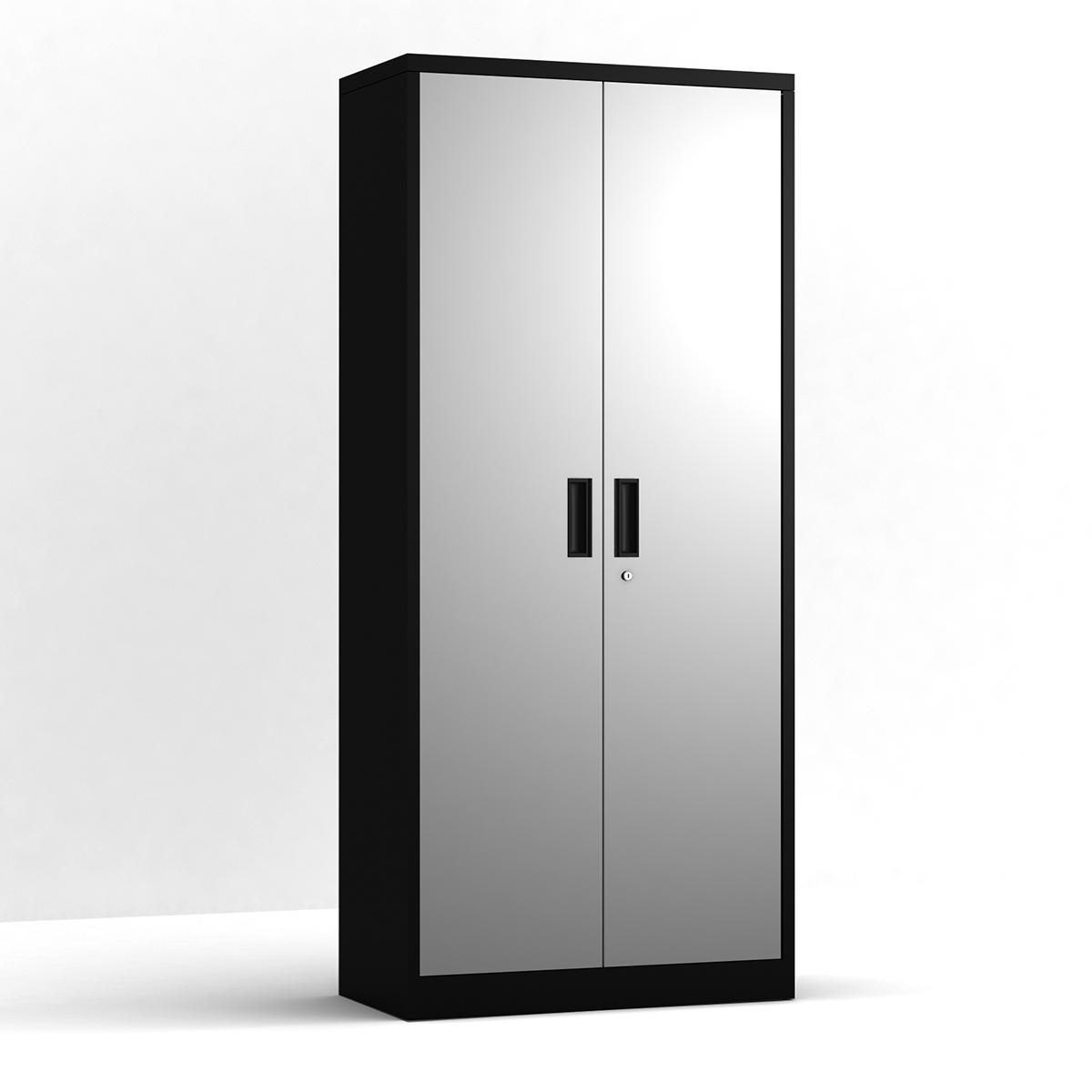 钢制储物柜5分区金属储物柜带4块可调式搁板和带锁门 - 黑色柜体灰色门