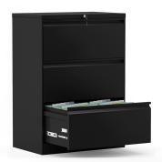 钢制储物柜3抽文件柜 - 黑色