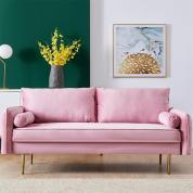 1Set Velvet Fabric sofa with pocket - Pink