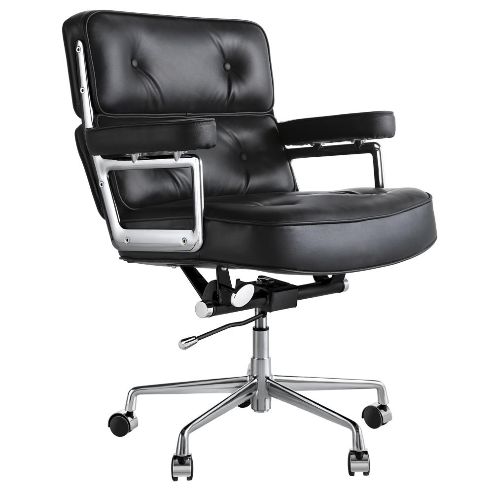 真皮软海绵旋转办公椅 - 黑色