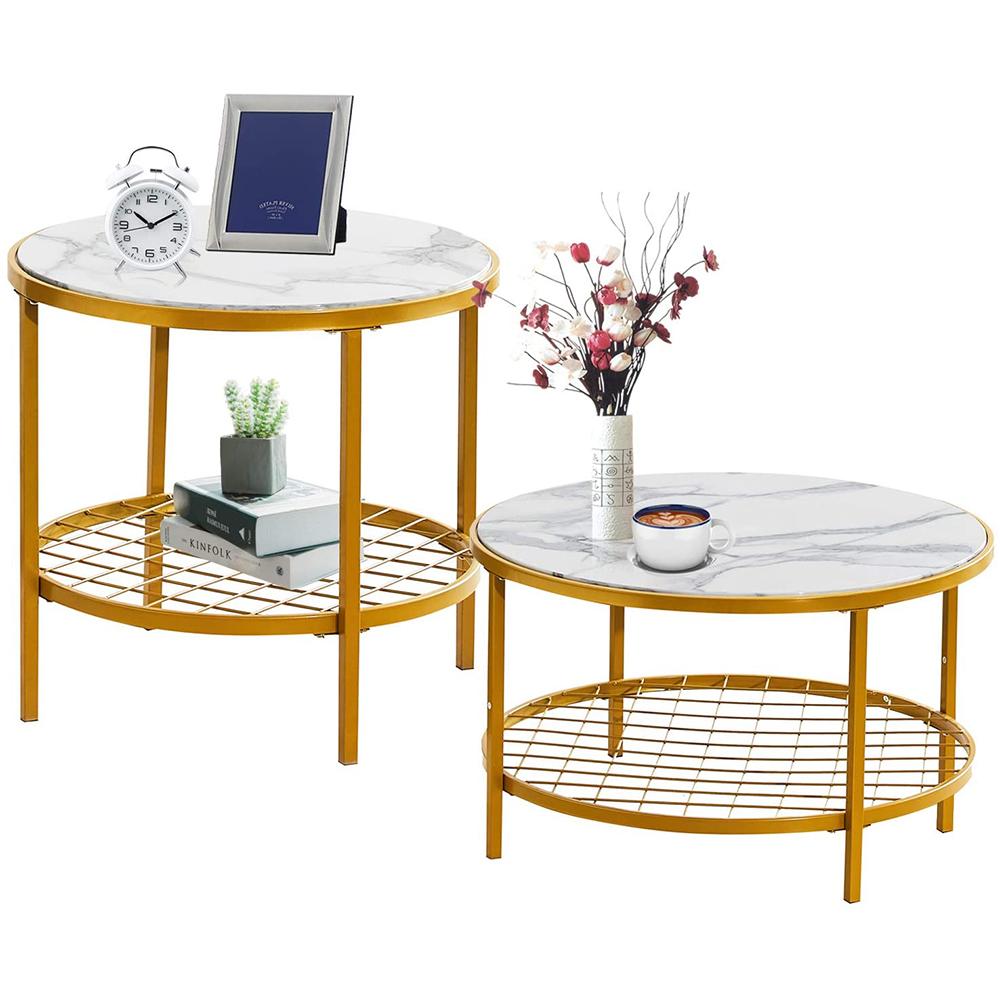 1套/2个咖啡桌简约大理石茶几小户型客厅圆形子母小茶几 - 白色