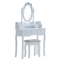 现代简约梳妆台组合家用卧室多功能化妆桌 - 白色