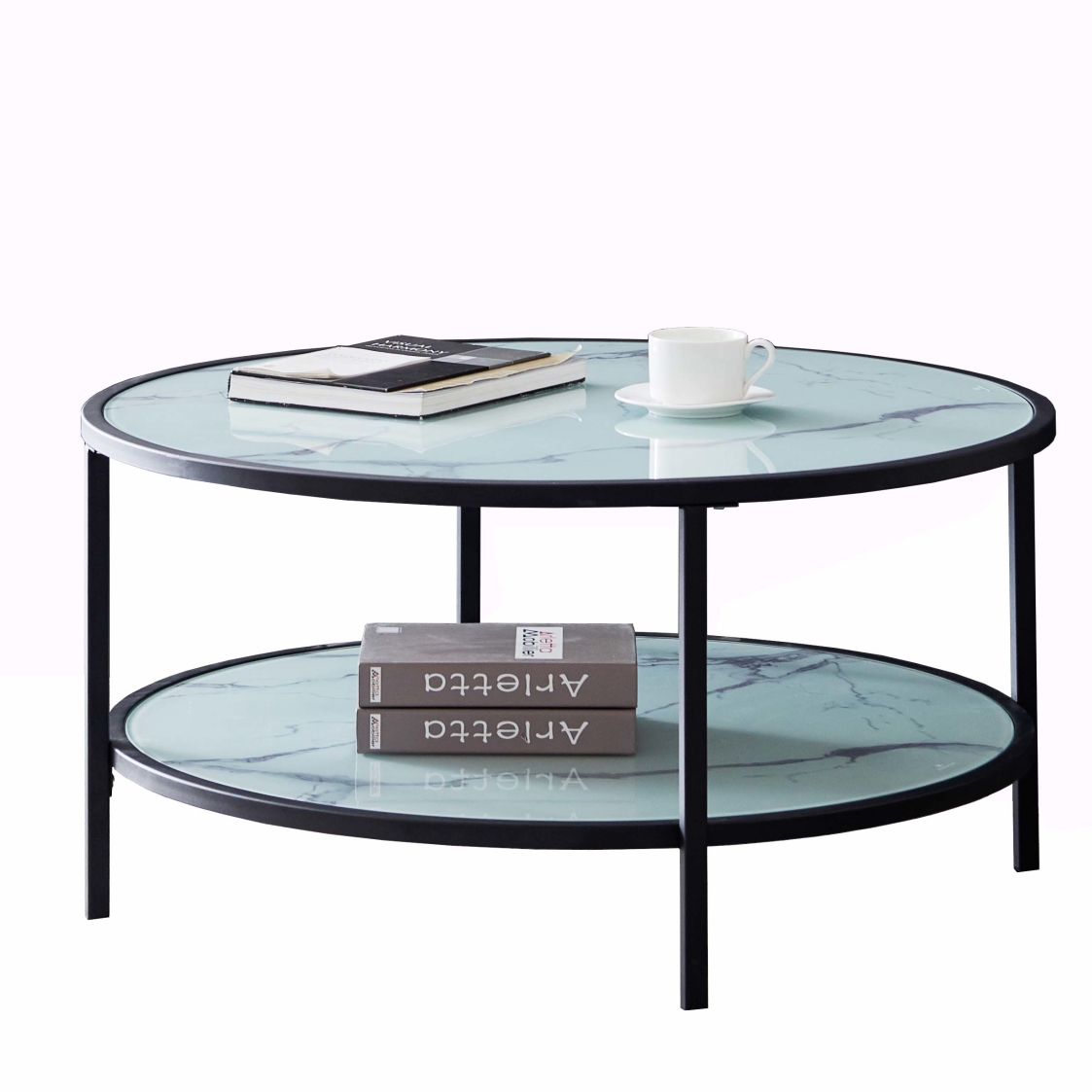 Glass coffee table with large storage space coffee table - black