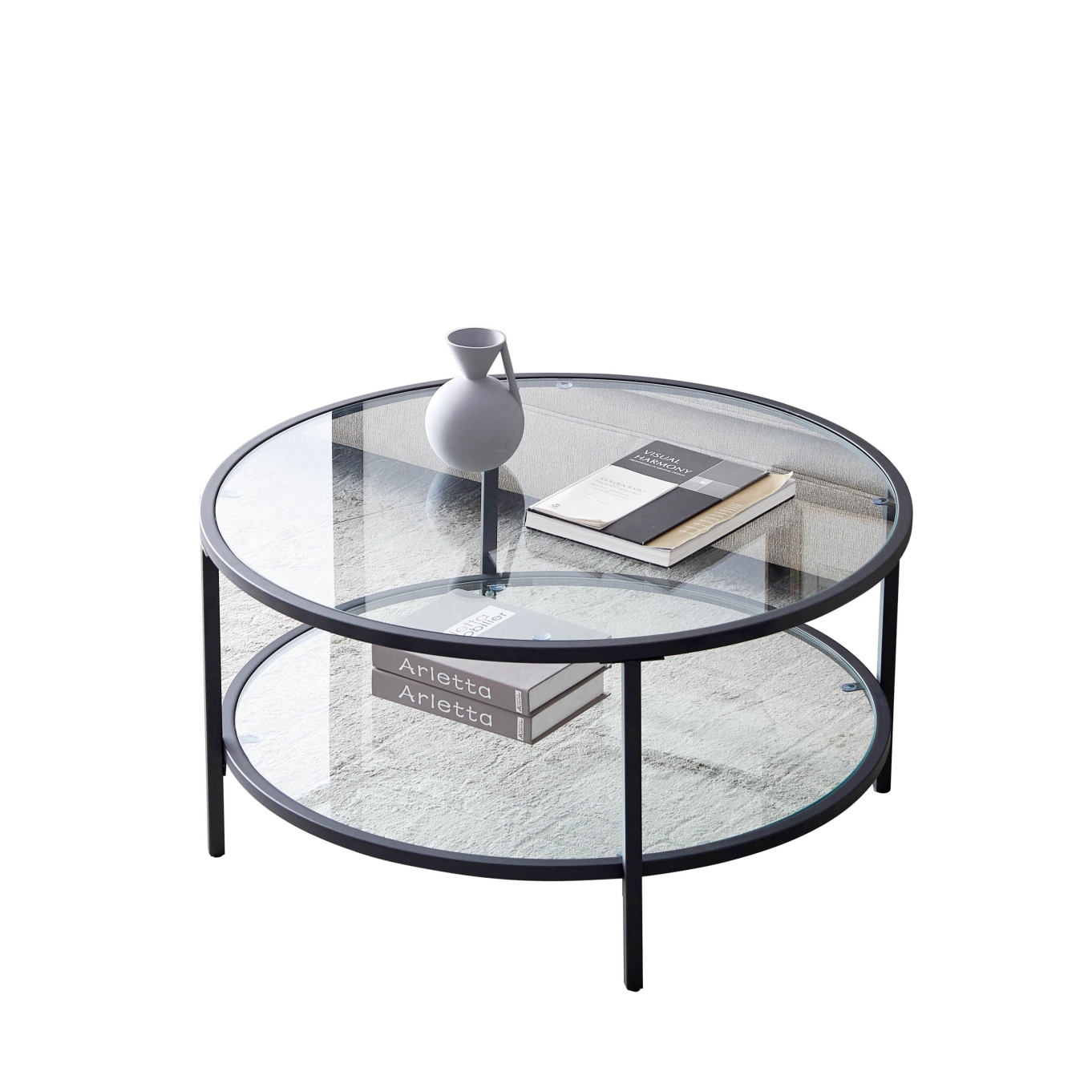 带大储物空间的玻璃咖啡桌 - 黑色