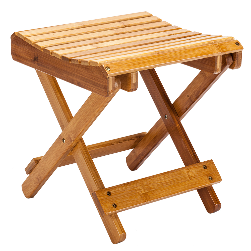 Children Multi-function Collapsible Bamboo Stool - Wood color