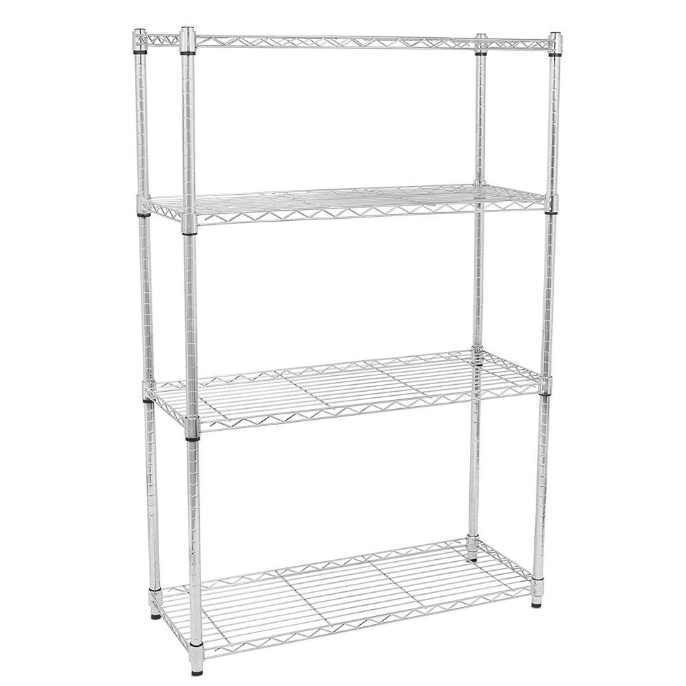 4-Layer Chrome Plated Iron Shelf - Silver