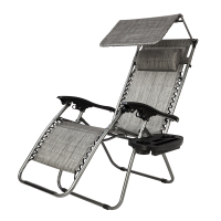 Zero Gravity Lounge Chair with Awning Leisure Chair - Gray