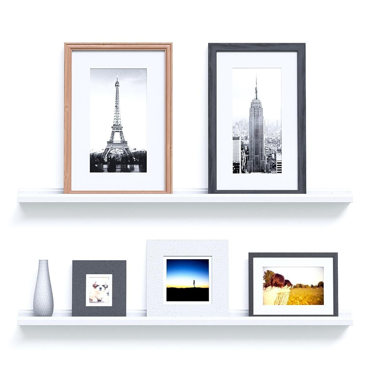46 Inches Floating Picture Display Ledge Wall Mount Shelf Denver Modern Design - White