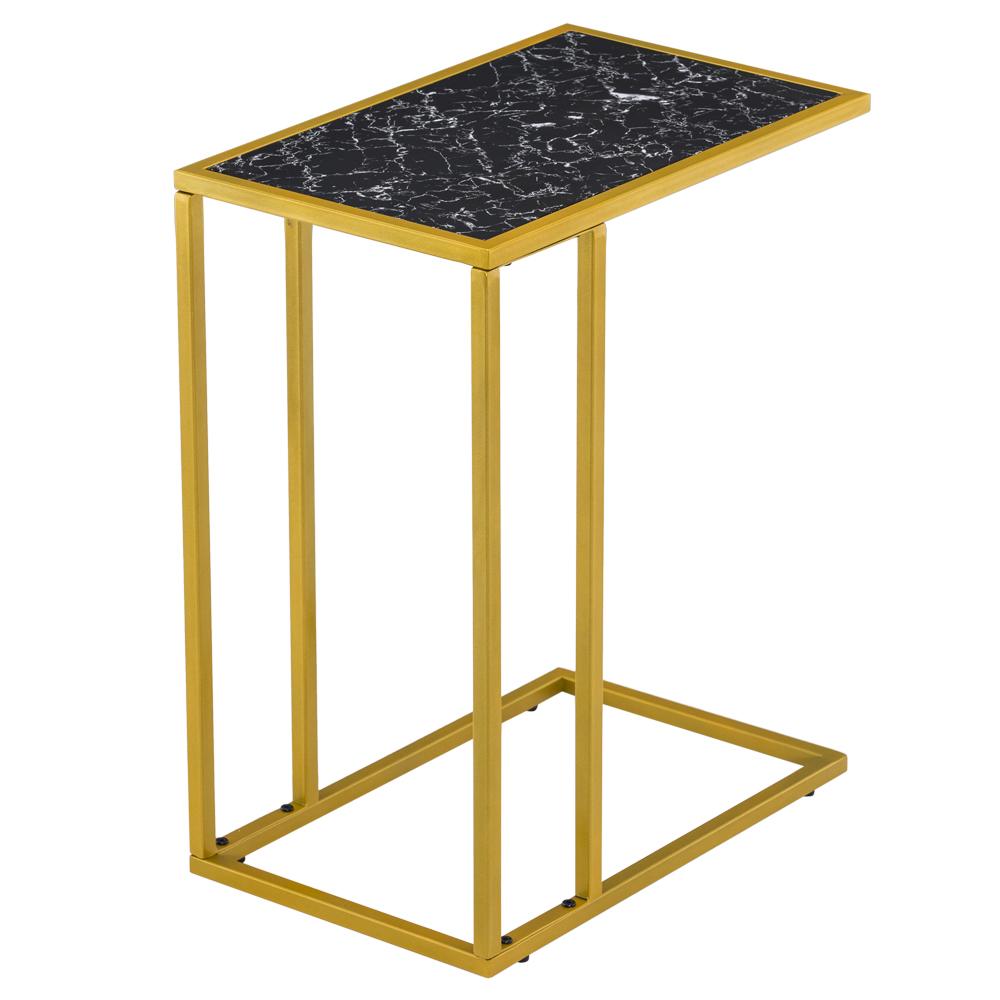 大理石简约C形边桌-黑色大理石贴金腿