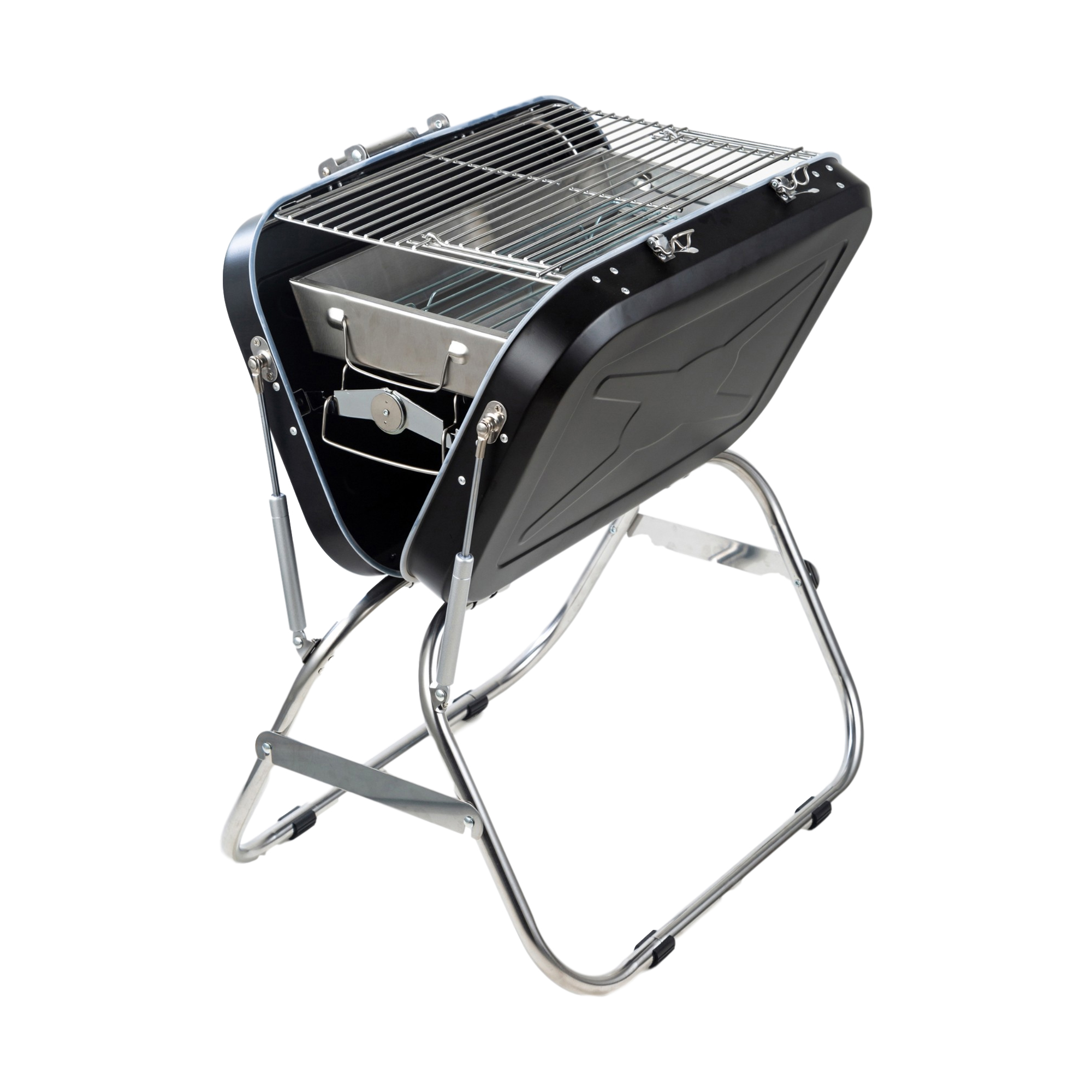 便携式户外烧烤架家用不锈钢烧烤架 - 黑色