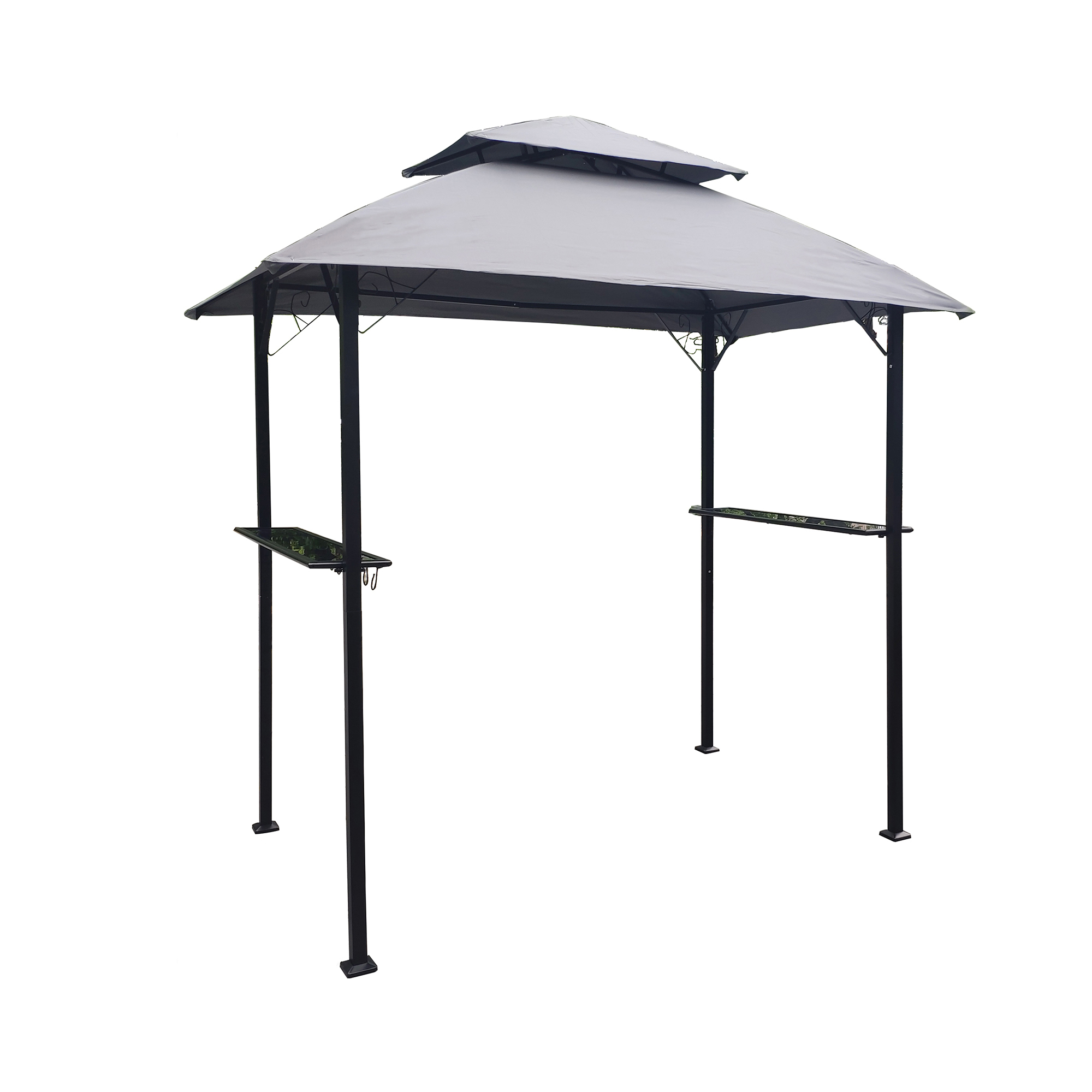 Outdoor Grill Gazebo tent 8 x 5 Ft  Double Tier Soft Top Canopy Frame with hook and Bar Counters - grey
