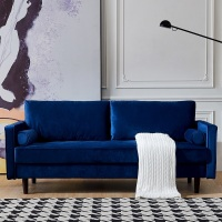【SEA】79 Mid-Century Modern Velvet fabric Bench Sectional Couch Sofa - blue