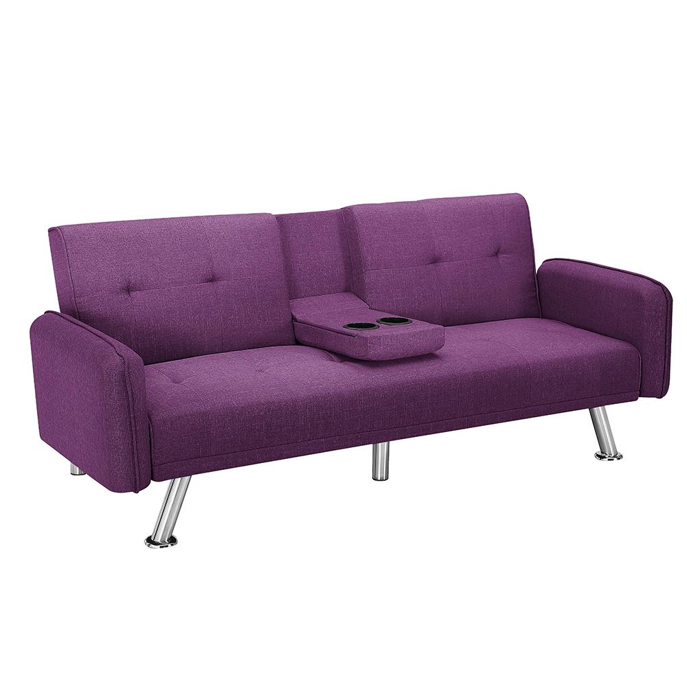 实木涤纶面料沙发多功能折叠沙发床
