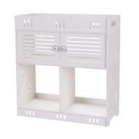 无穿孔PVC浴室洗漱柜三层两门 - 白色