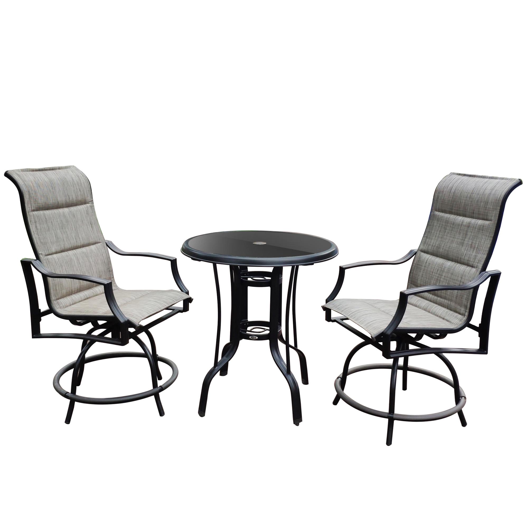 三件户外家具露台旋转吧台套装一张桌子/两张椅子