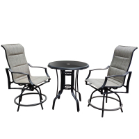 On Shine 3 PCS Outdoor Furniture Patio Swivel Bar Set Height Patio Bistro Set and 1 Table