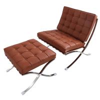 中世纪风格休闲躺椅头层牛皮实心钢架