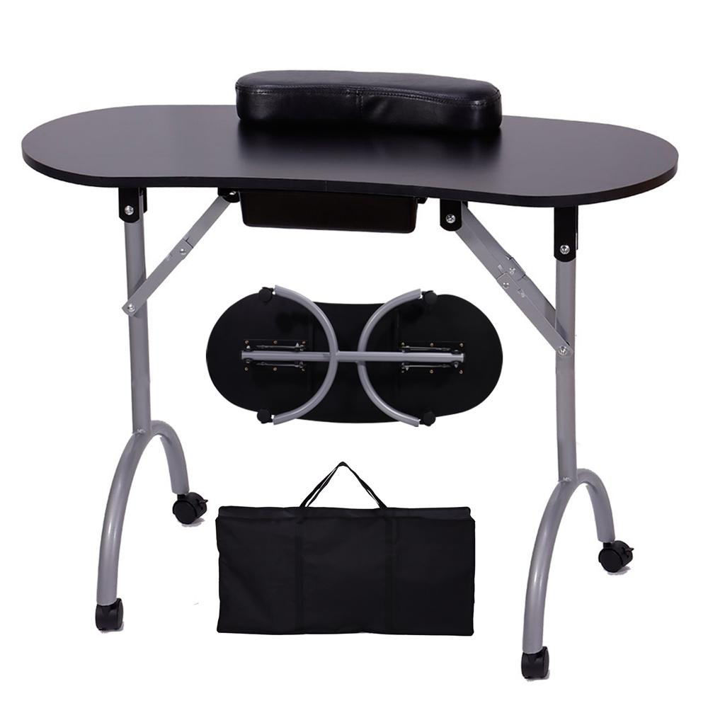 便携式折叠美甲桌带360度旋转车轮大容量抽屉