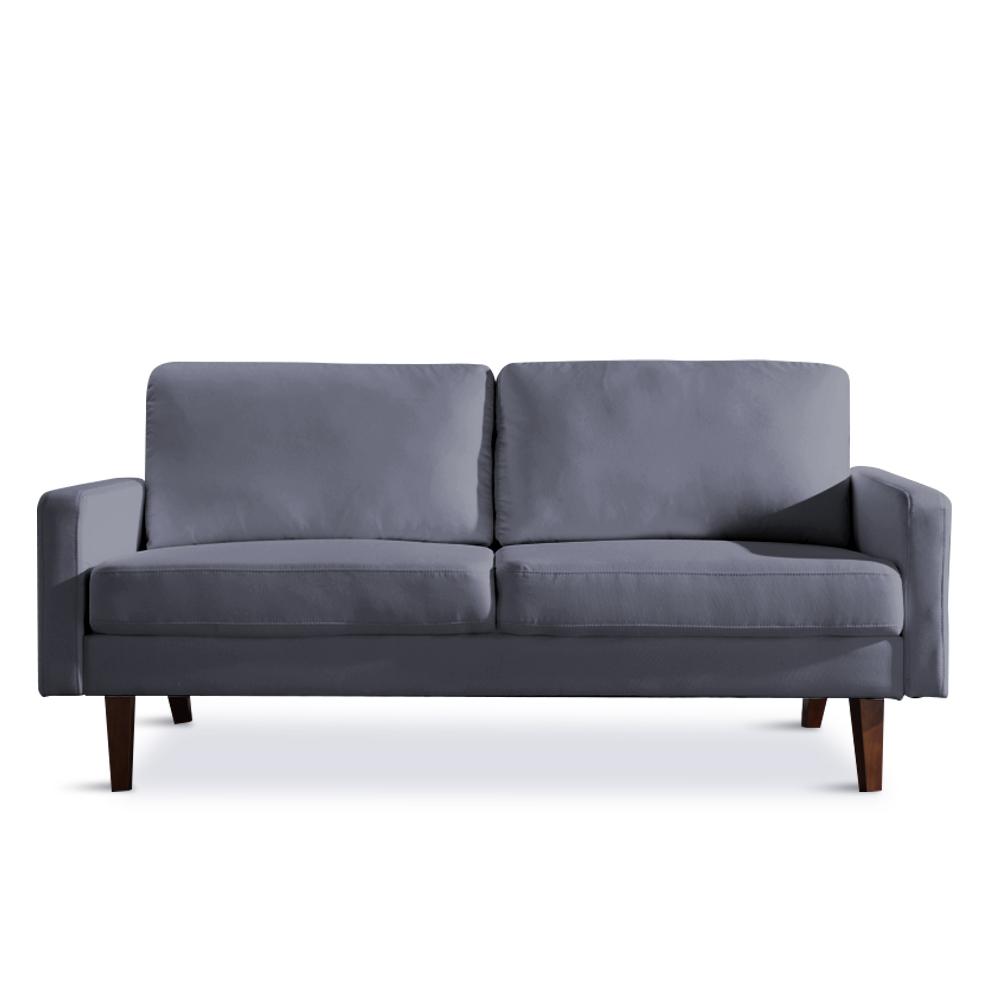 两人亚麻布艺沙发简约风格沙发小户型客厅酒店沙发 - 灰色