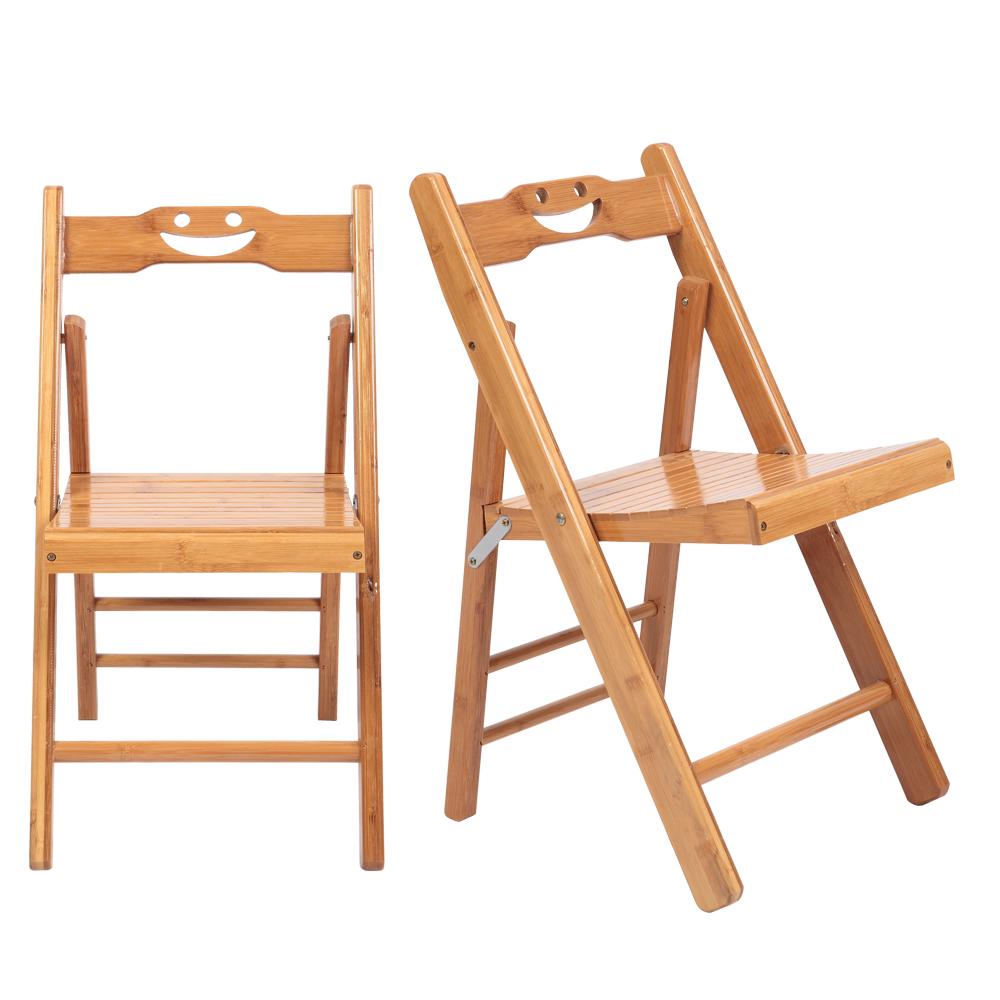 2PCS笑脸中折叠椅 原木色【28x30x60cm】