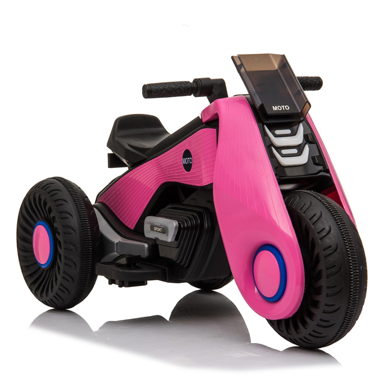 【WH】儿童电动摩托车 3轮 双驱动 粉色