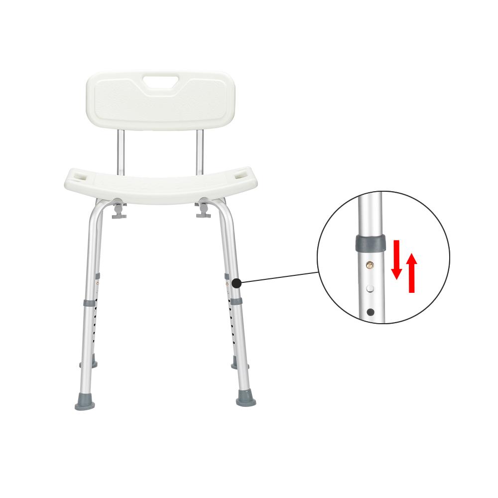 【WH】铝合金升降洗澡椅8档 / 带靠背 / PE坐凳 / 橡胶脚垫 白色