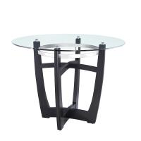 圆形玻璃顶餐桌 带实木底座 钢化玻璃 - 黑
