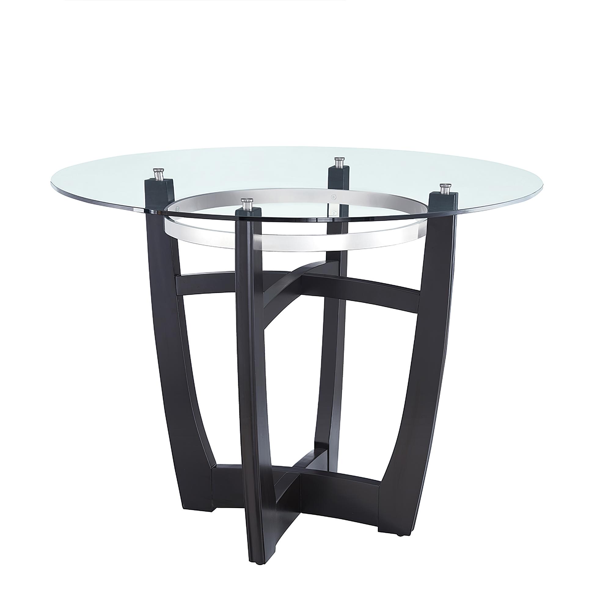餐桌,带透明钢化玻璃台面,带实木底座,适用于家庭办公室厨房黑色的现代圆形玻璃厨房餐桌家具