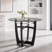 圆形玻璃顶中吧桌 带实木底座 钢化玻璃 - 黑