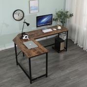 家用办公L型转角桌墙角书桌拐角桌电脑桌 - 黑色+木纹