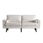 北欧布艺两人绒布沙发 - 米白色