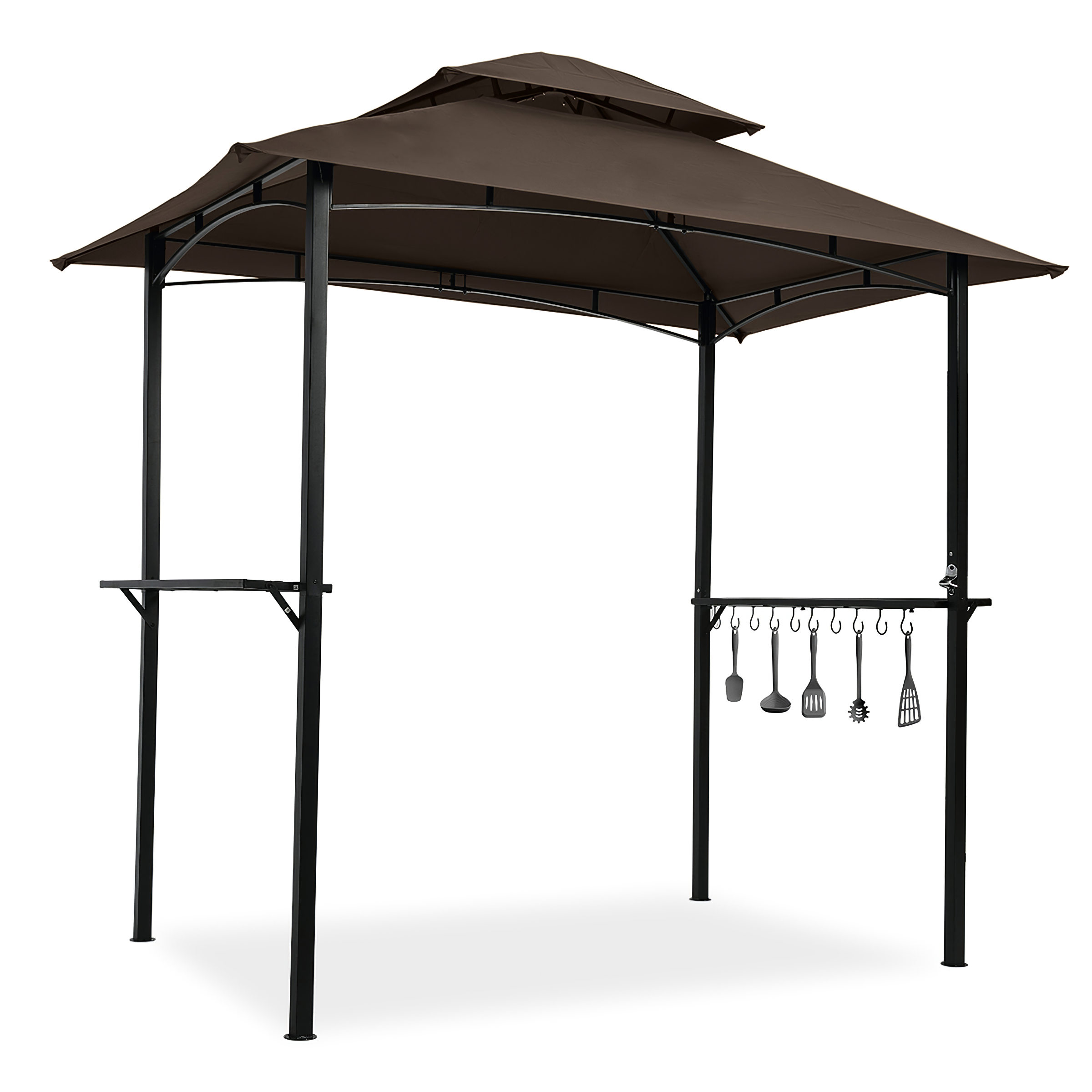 户外烧烤露台帐篷8 x 5英尺双层软顶冠