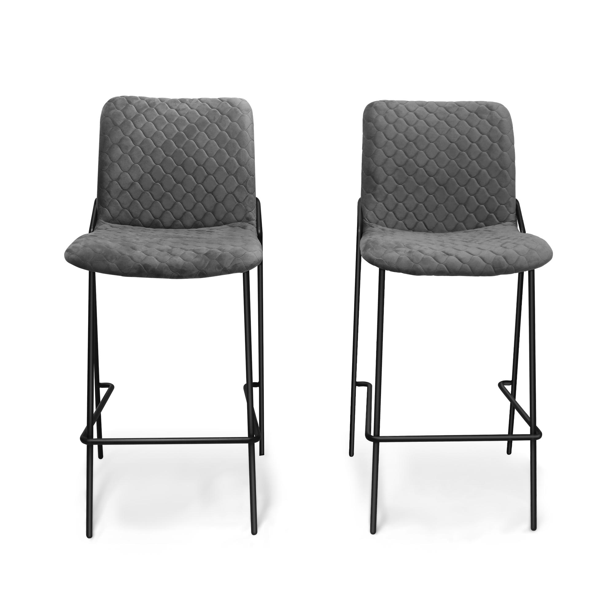 2个/套轻奢吧椅现代家用咖啡厅酒吧台椅靠背布艺高脚凳