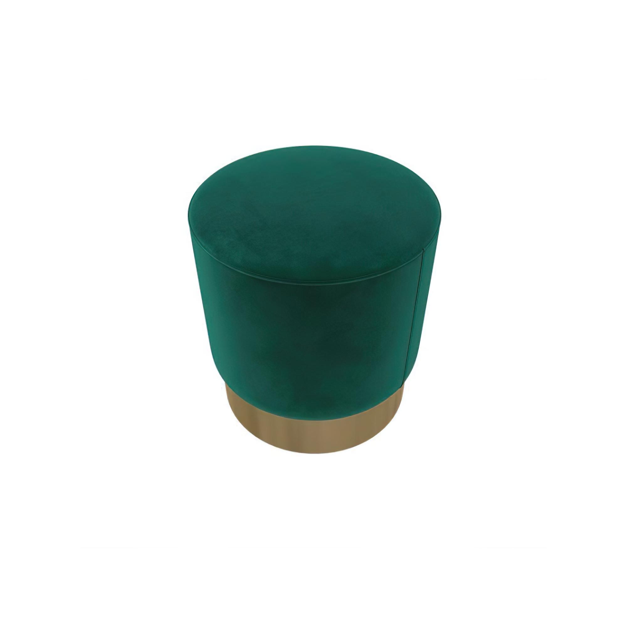 天鹅绒面料圆脚凳加金镀底 - 蓝绿色