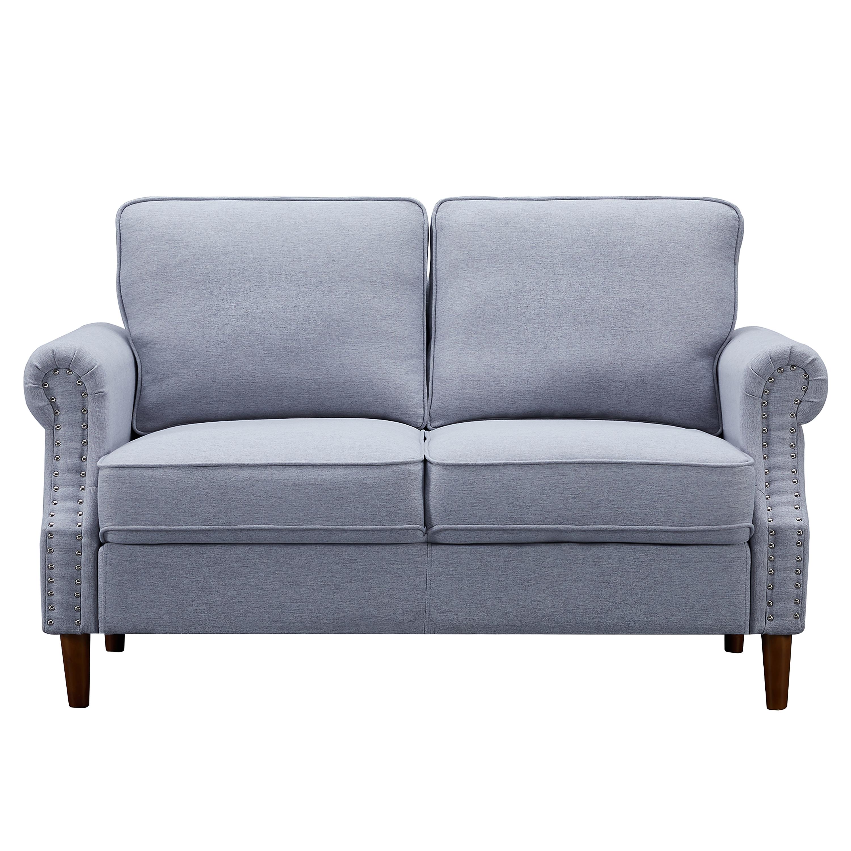 桉树框架客厅二座位沙发 - 浅灰色