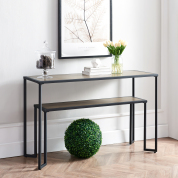 茶几,铁艺客厅边几,客厅或走廊的48英寸窄控制台桌(黑/棕)